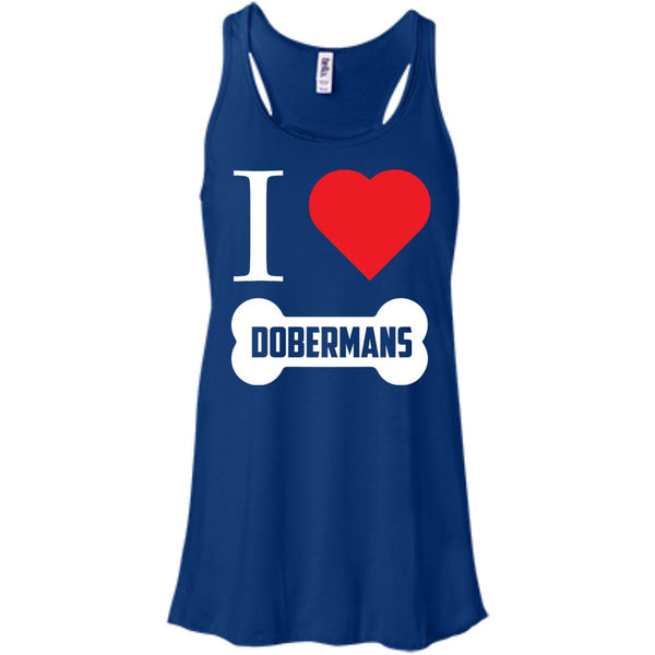 Doberman - I LOVE MY DOBERMAN (BONE DESIGN) - Bella+Canvas Flowy Racerback Tank