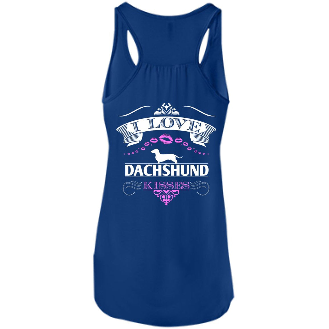 I LOVE DACHSHUND KISSES - BACK DESIGN - Bella+Canvas Flowy Racerback Tank