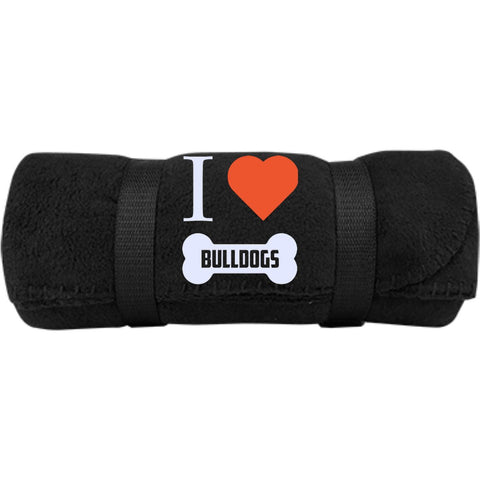 Bulldog - I LOVE MY BULLDOG (BONE DESIGN) -  Fleece Blanket (Embroidered)