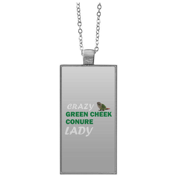 Crazy Green Cheek Conure Lady Rectangle Necklace