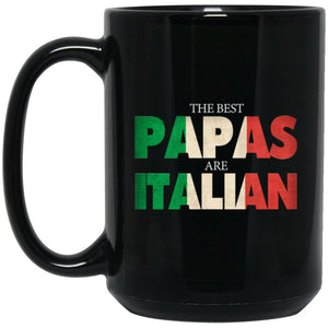 Funny Italian Papa Gift Best Papas Are Italian Flag Large Black Mug