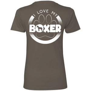 I LOVE MY BOXER (Paw Design) - Back Design  -  Next Level Ladies' Boyfriend Tee