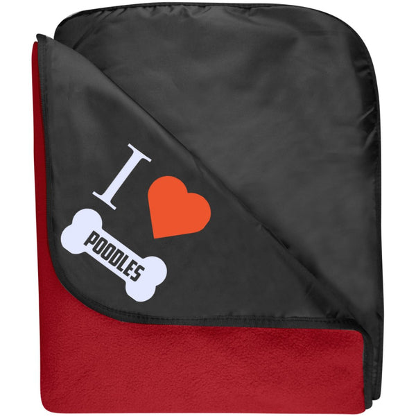 Poodle - I LOVE MY POODLE (BONE DESIGN) - Fleece & Poly Travel Blanket (Embroidered)