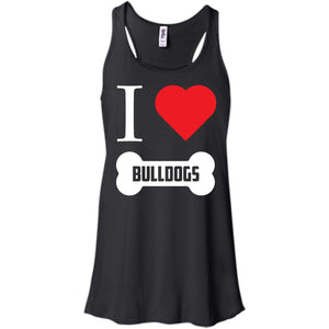 Bulldog - I LOVE MY BULLDOG (BONE DESIGN) - Bella+Canvas Flowy Racerback Tank