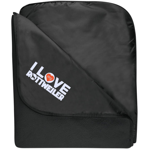 I Love My Rottweiler - Fleece & Poly Travel Blanket (Embroidered)