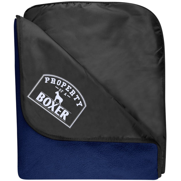 Boxer - Property Of A Boxer - Fleece & Poly Travel Blanket (Embroidered)