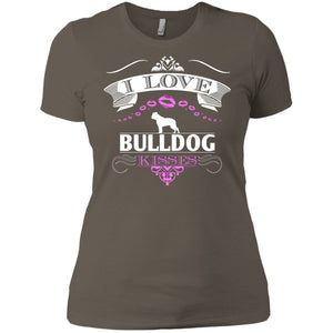 I LOVE BULLDOG KISSES - FRONT DESIGN -  Next Level Ladies' Boyfriend Tee
