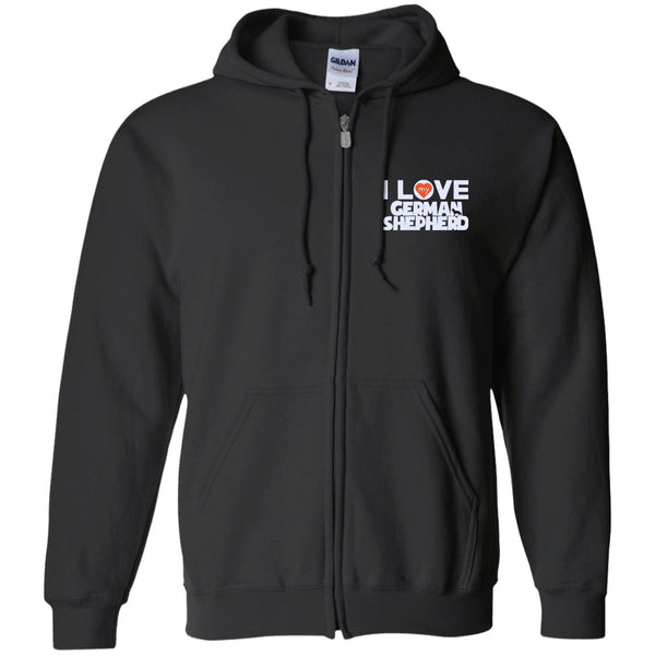 I Love My German Shepherd - Embroidered Zip Up Hooded Sweatshirt