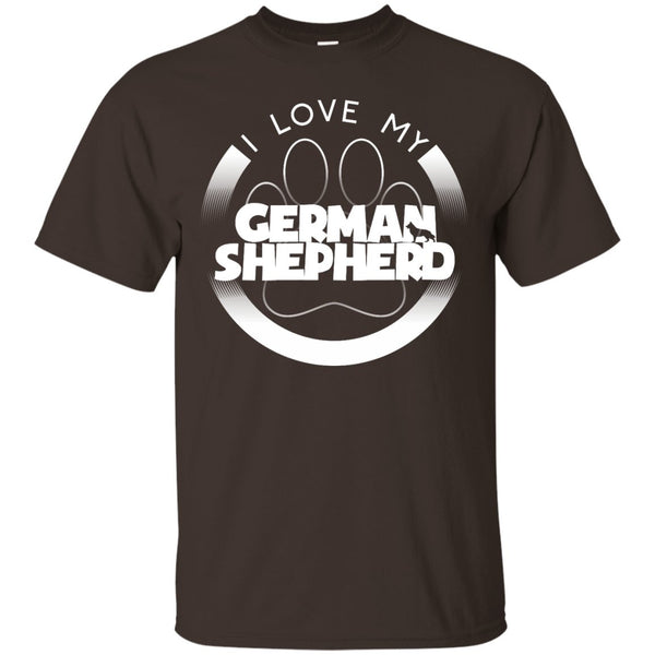 I LOVE MY GERMAN SHEPHERD (Paw Design) - Front Design  - Custom Ultra Cotton T-Shirt