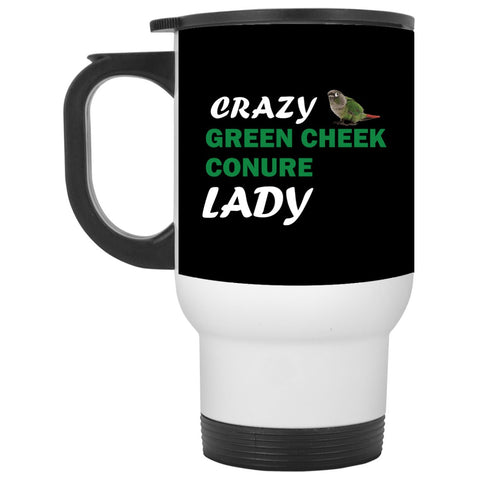 Crazy Green Cheek Conure Lady Travel Mug
