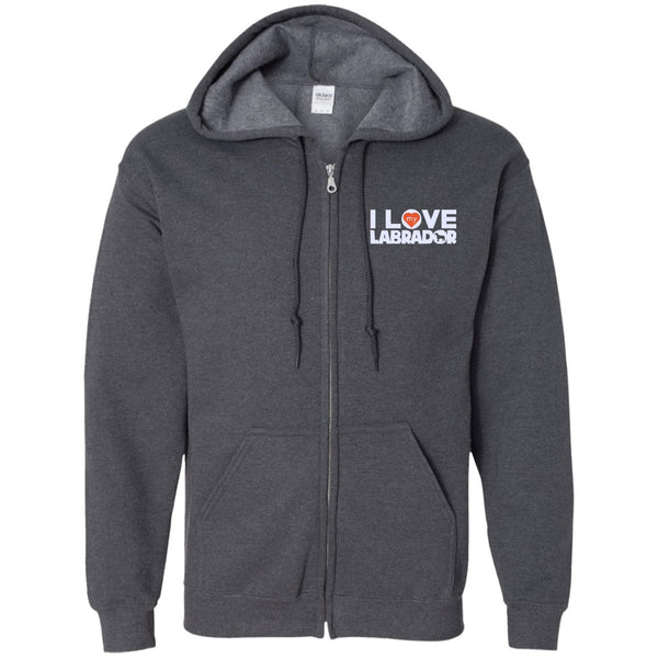 I Love My Labrador - Embroidered Zip Up Hooded Sweatshirt