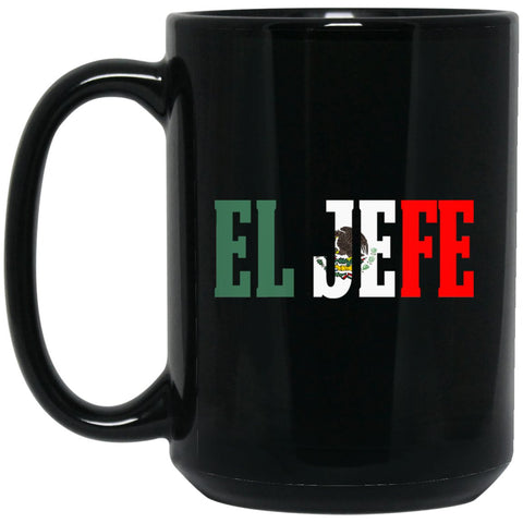 Cool EL JEFE Coffee Mug Mexican Flag Mug for Mexican Pride Large Black Mug