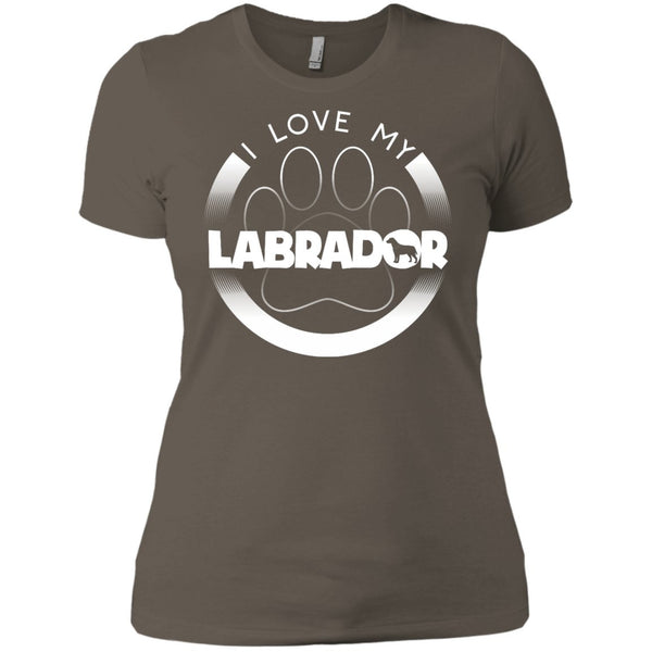 I LOVE MY LABRADOR (Paw Design) - Front Design  -  Next Level Ladies' Boyfriend Tee