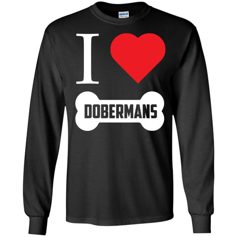 Doberman - I LOVE MY DOBERMAN (BONE DESIGN) - LS Ultra Cotton Tshirt