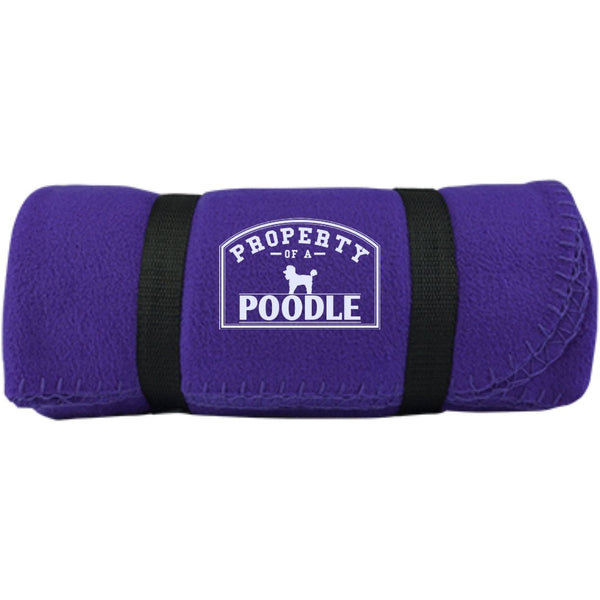 Poodle - Property Of A Poodle -  Fleece Blanket (Embroidered)