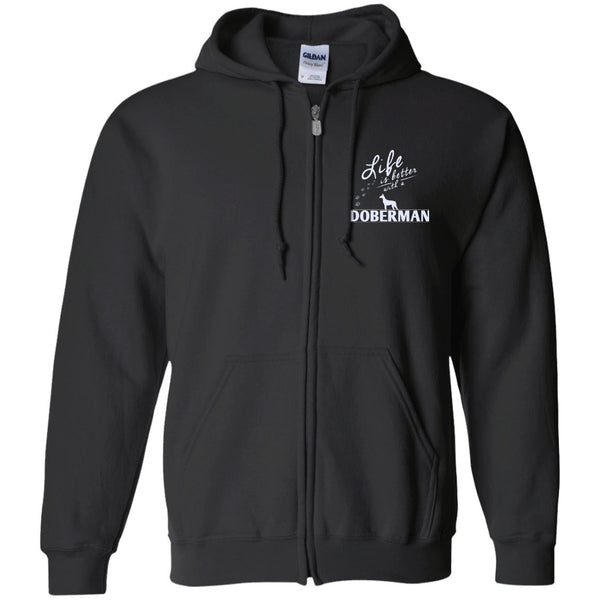 Doberman - Life Is Better With A Doberman Paws - Embroidered Zip Up Hooded Sweatshirt
