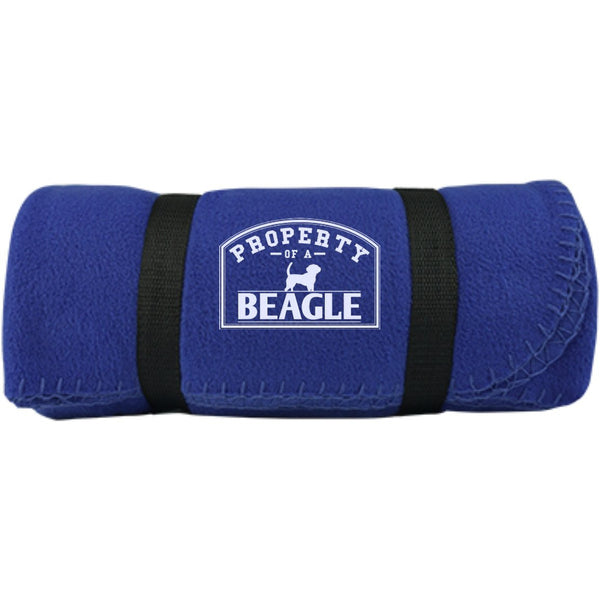 Beagle - Property Of A Beagle -  Fleece Blanket (Embroidered)