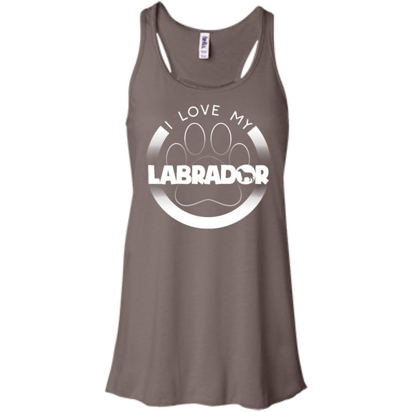 I LOVE MY LABRADOR (Paw Design) - Front Design  - Bella+Canvas Flowy Racerback Tank