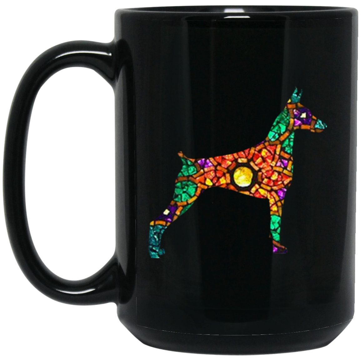 Great Doberman Love Gift - Stained Glass Doberman Large Black Mug