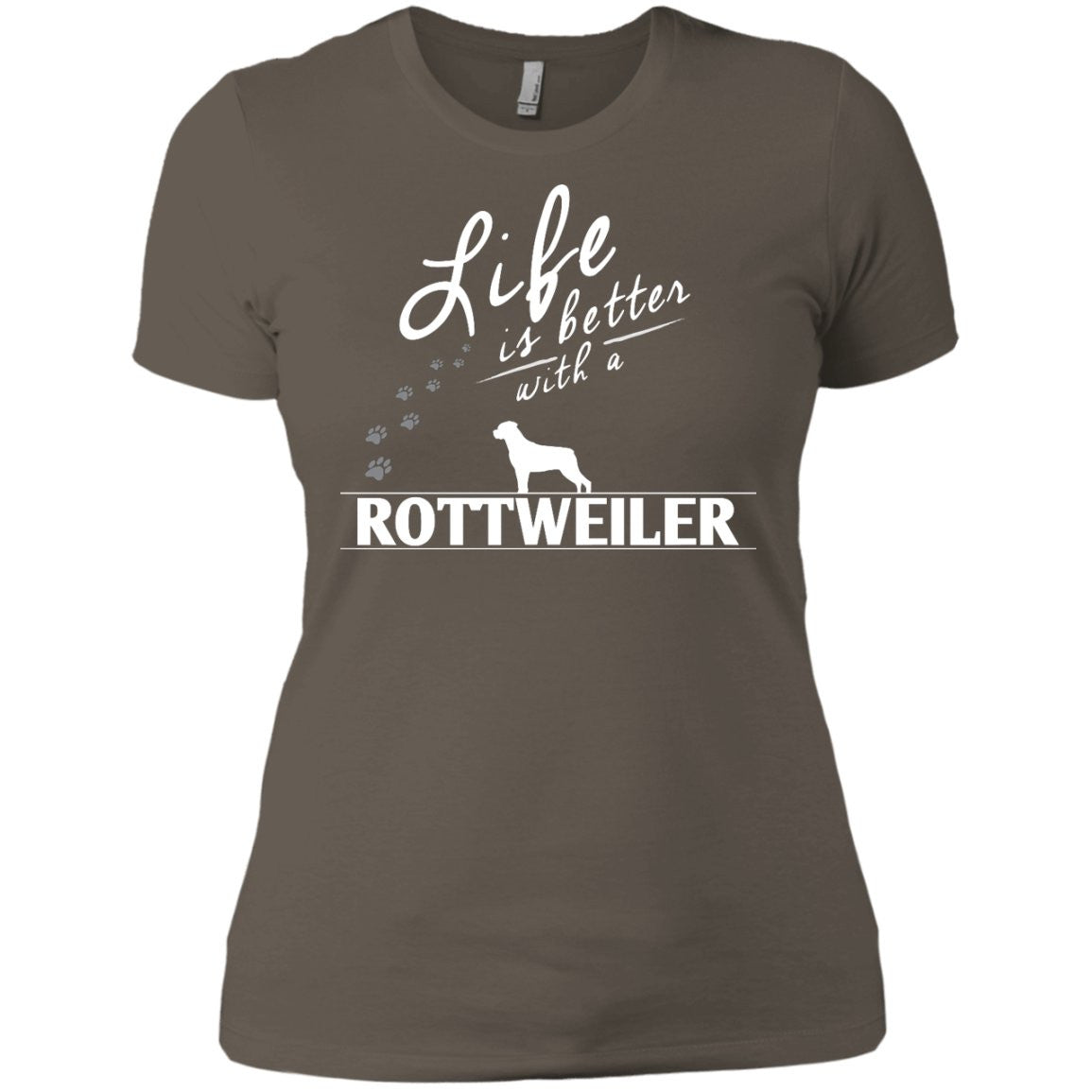 Rottweiler - Life Is Better With A Rottweiler Paws - Next Level Ladies' Boyfriend Tee