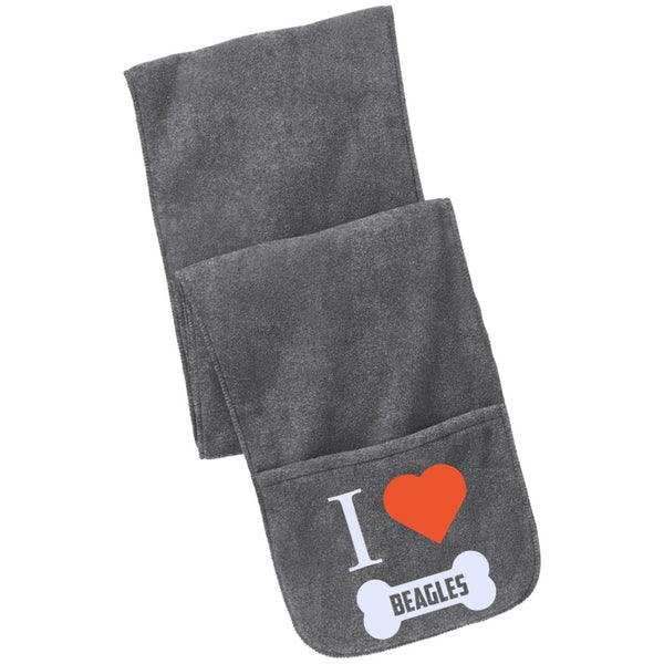 Beagle - I LOVE MY BEAGLE (BONE DESIGN) - Fleece Scarf with Pockets