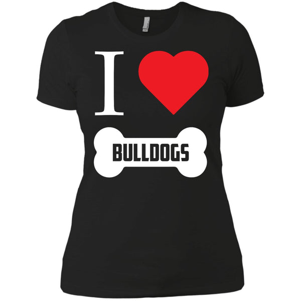 Bulldog - I LOVE MY BULLDOG (BONE DESIGN) - Next Level Ladies' Boyfriend Tee