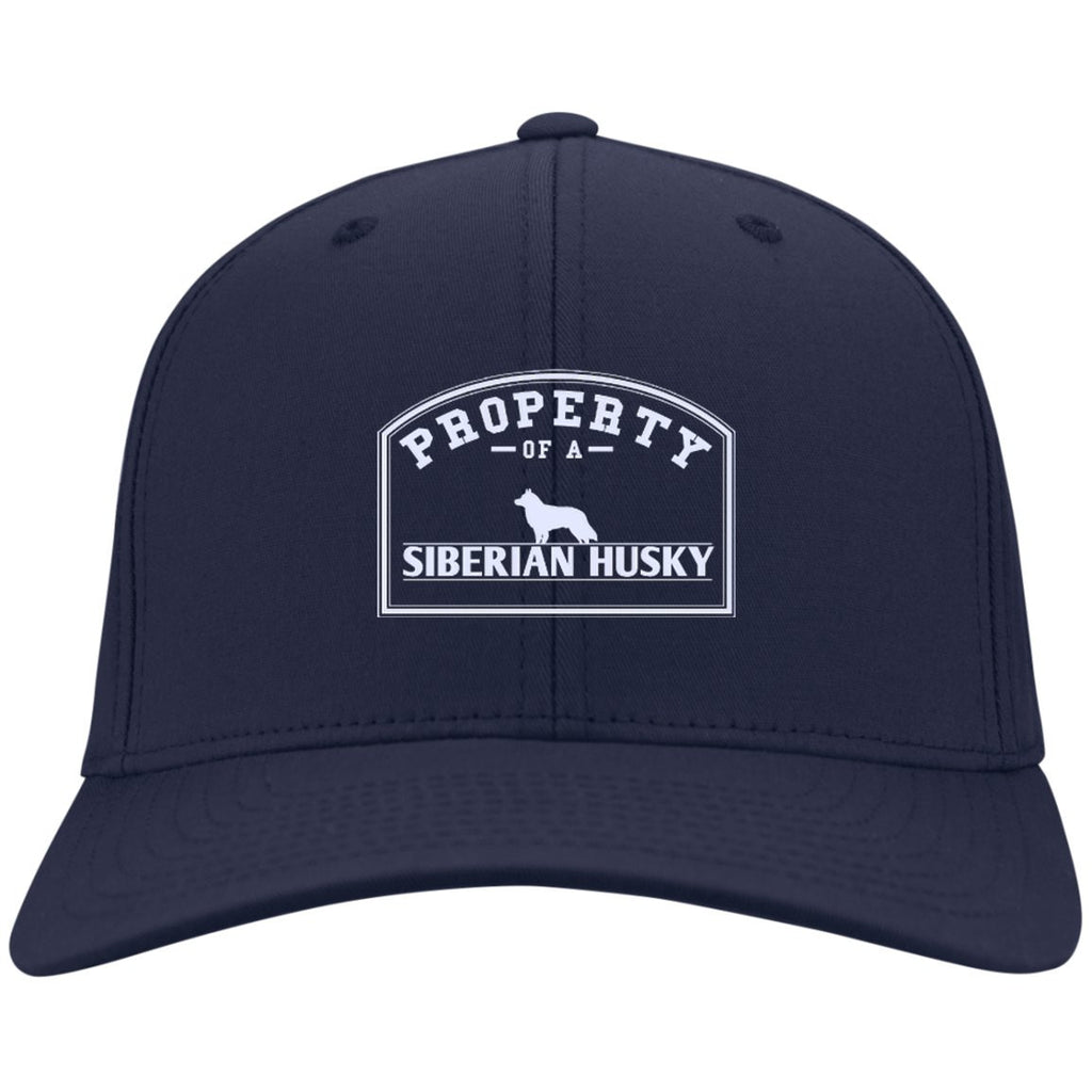 Siberian Husky - Property Of A Siberian Husky - Dry Zone Nylon Cap (Embroidered)