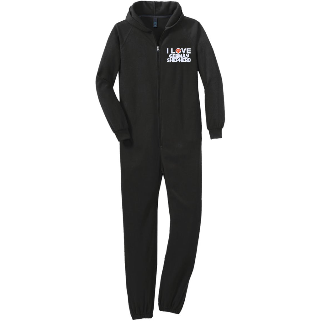 I Love My German Shepherd  - Adult Fleece Onesie (Embroidered)