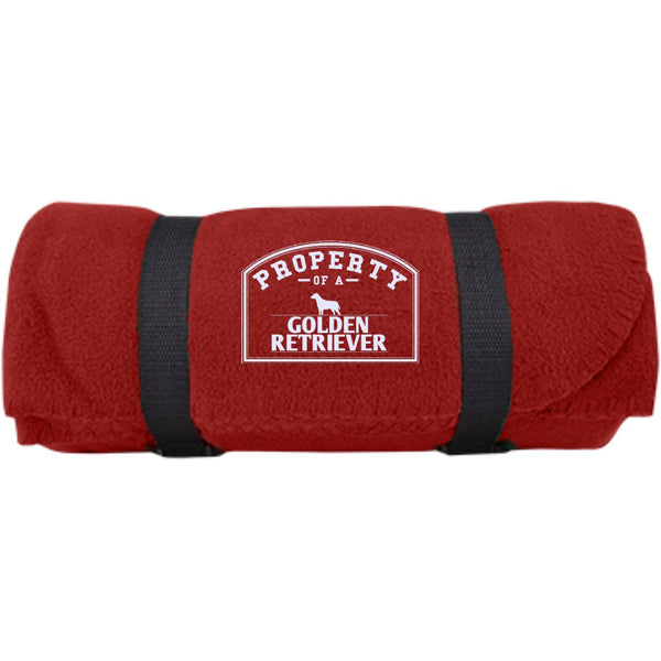 Golden Retrievers - Property Of A Golden Retrievers -  Fleece Blanket (Embroidered)