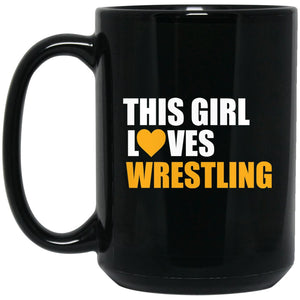 Funny Wrestling Gift - This girl love wrestling Large Black Mug