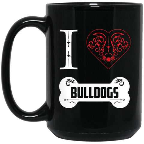 Funny Bulldog Mug - I Heart Bulldogs Bone Ornaments Large Black Mug