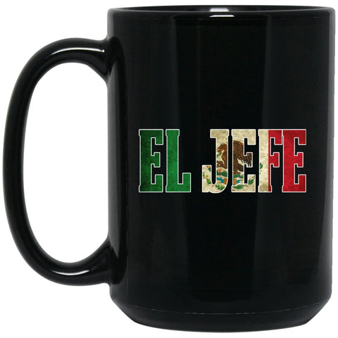 Cool EL JEFE Coffee Mug Mexican Flag Mug for Men Large Black Mug