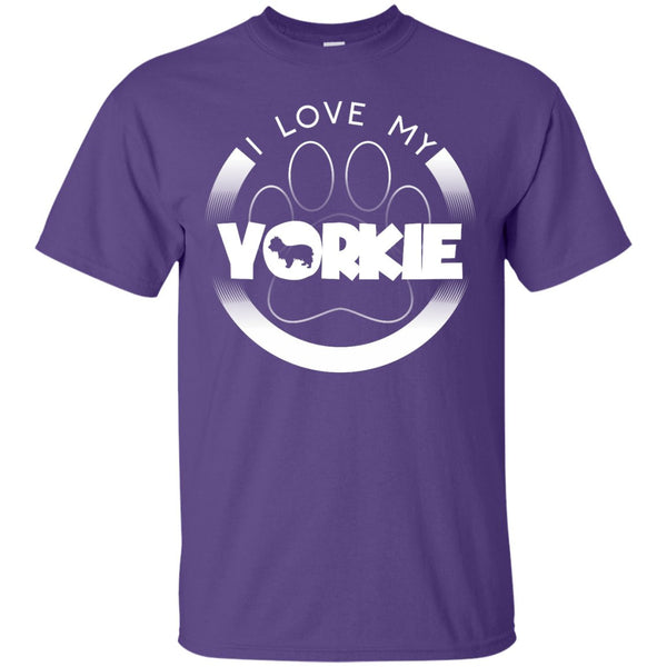 I LOVE MY YORKIE (Paw Design) - Front Design - Custom Ultra Cotton T-Shirt