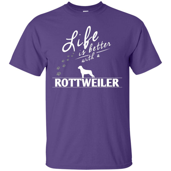 Rottweiler - Life Is Better With A Rottweiler Paws -  Custom Ultra Cotton T-Shirt