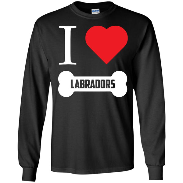 Labrador - I LOVE MY LABRADOR (BONE DESIGN) - LS Ultra Cotton Tshirt