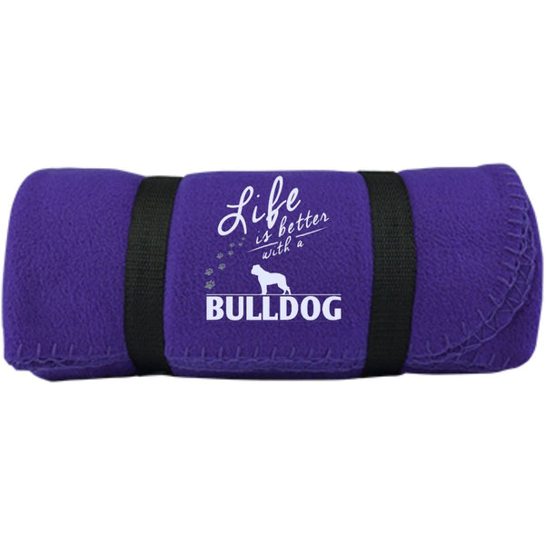 Bulldog - Life Is Better With A Bulldog Paws -  Fleece Blanket (Embroidered)