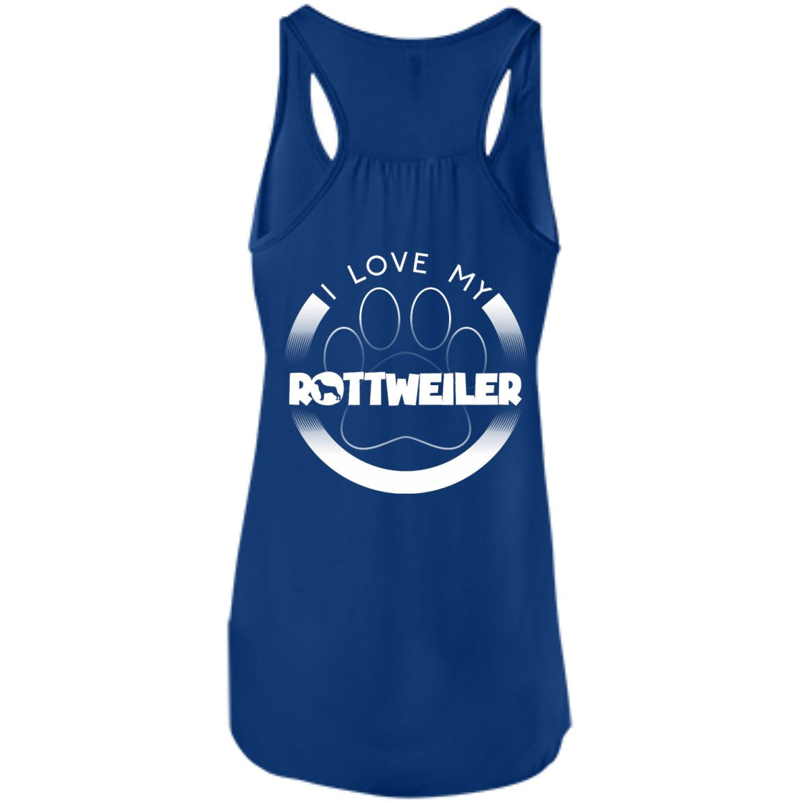 I LOVE MY ROTTWEILER (Paw Design) - Back Design - Bella+Canvas Flowy Racerback Tank