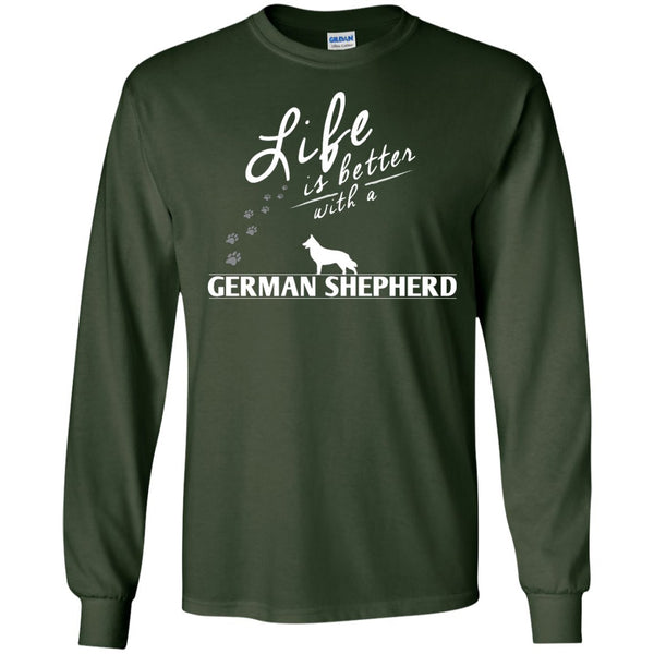 German Shepherd - Life Is Better With A German Shepherd Paws - LS Ultra Cotton Tshirt