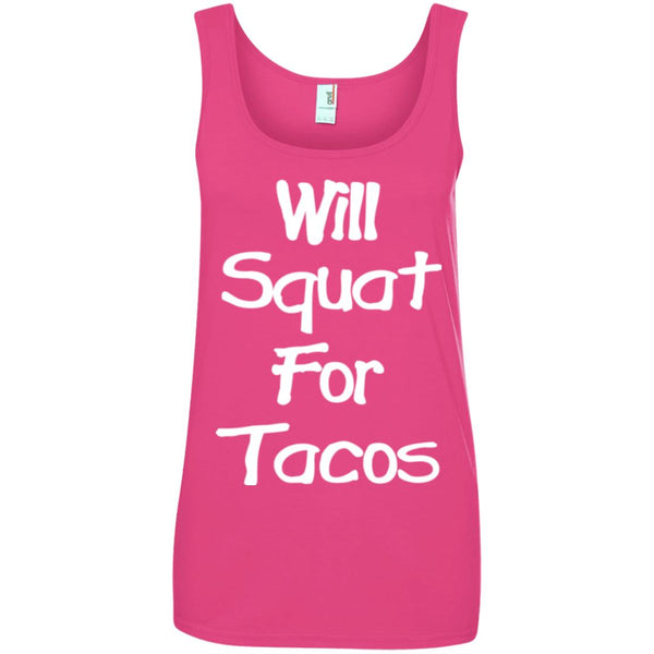 Will Squat For Tacos' Funny Womens taco T shirt Ladies Tank Top