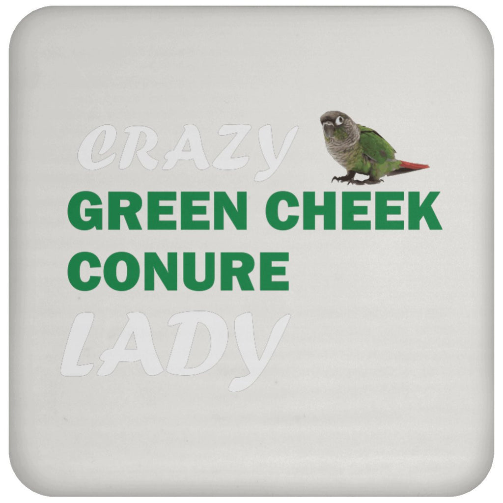 Crazy Green Cheek Conure Lady Coaster