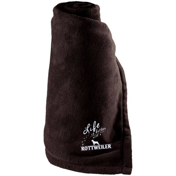 Rottweiler - Life Is Better With A Rottweiler Paws - Large Fleece Blanket