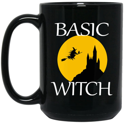 Funny Witch Basic Witch Large Black Mug