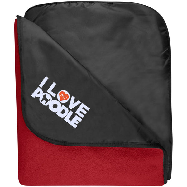 I Love My Poodle - Fleece & Poly Travel Blanket (Embroidered)
