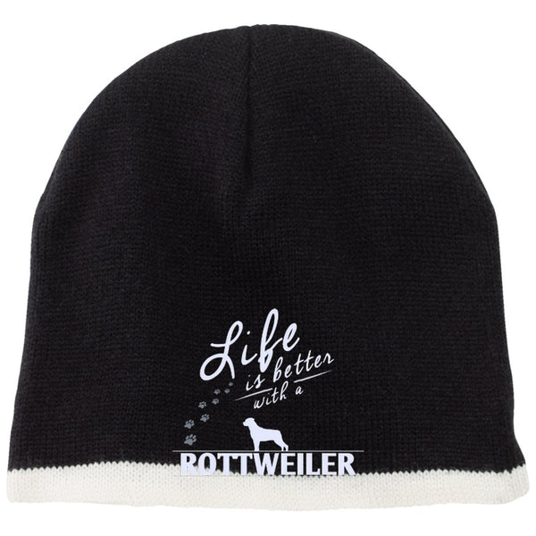 Rottweiler - Life Is Better With A Rottweiler Paws - Beanie (Embroidered)