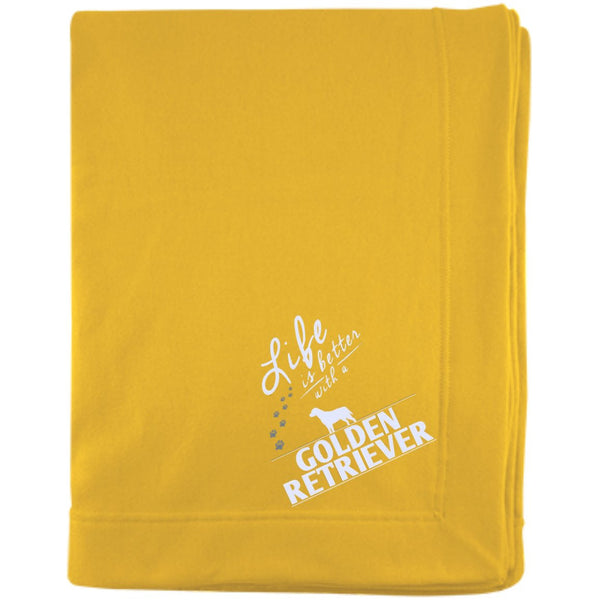 Golden Retriever - Life Is Better With A Golden Retriever Paws - Embroidered Sweatshirt Blanket