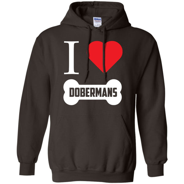 Doberman - I LOVE MY DOBERMAN (BONE DESIGN) - Pullover Hoodie 8 oz