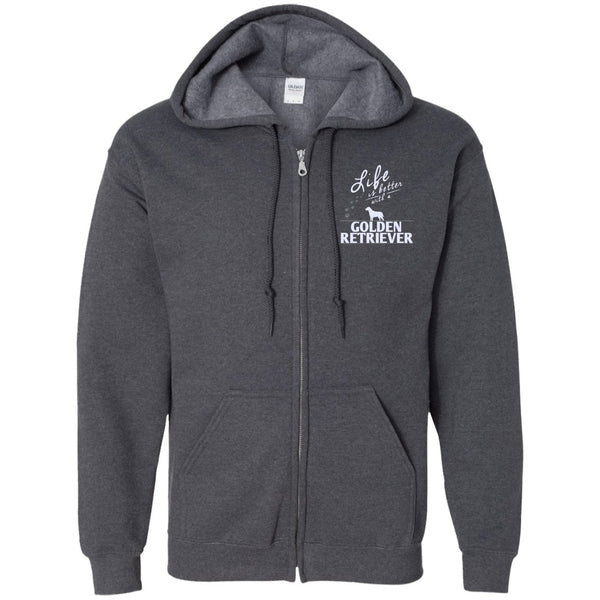 Golden Retriever - Life Is Better With A Golden Retriever Paws- Embroidered Zip Up Hooded Sweatshirt