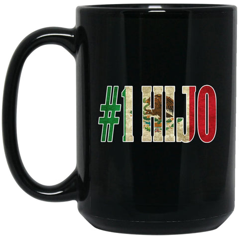 Cool Hijo Gift Coffee Mug For Mexican Flag Mug for Mexican Pride Vintage Outline Large Black Mug