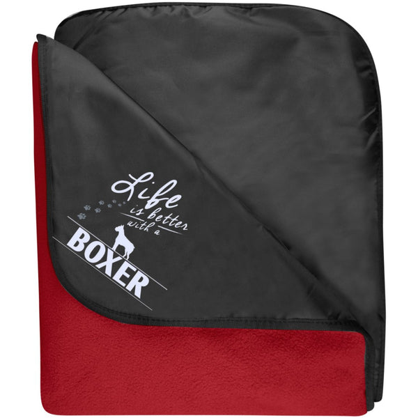 Boxer - Life Is Better With A Boxer Paws - Fleece & Poly Travel Blanket (Embroidered)