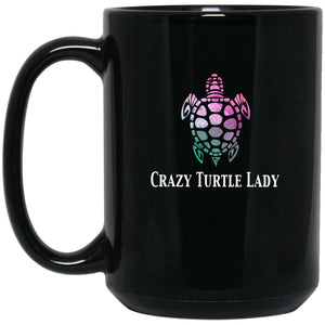 Crazy Turtle Lady Watercolor Large Black Mug